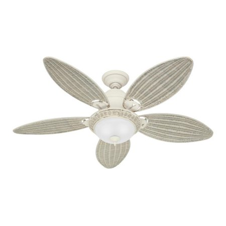 Hunter 54094 Caribbean Breeze 54 In  Casual Textured White Cream Wicker Indoor Ceiling Fan With 2 Lights