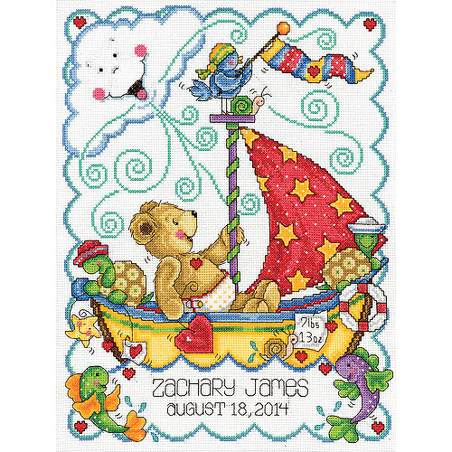 "Sail Away Baby Counted Cross-Stitch Kit, 11"" x 14"", 14-Count"