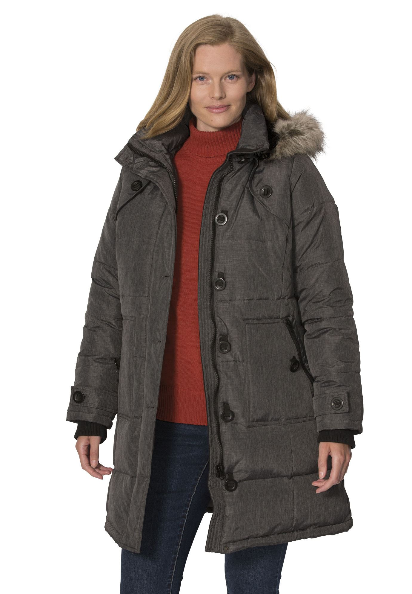 18657e7a133 Woman Within - Plus Size Hooded Down Heathered Puffer Coat - Walmart.com