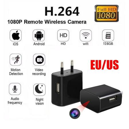 Spy Camera USB Phone Charger 1080p HD Hidden Camera, WIFI Wireless