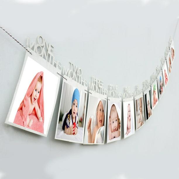 Monthly Milestone Photo banner for Newborn 1-12 Months Baby Photo Frame Shower baby Photo holder Kids Birthday Gift Room decorations Sliver