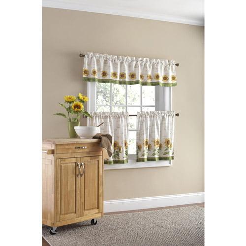 Walmart Kitchen Curtains: Mainstays Sunflower 3-Piece Kitchen Curtain Set