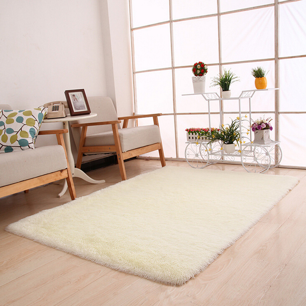 Delicieux Iuhan Fluffy Rugs Anti Skid Shaggy Area Rug Dining Room Bedroom Carpet  Floor Mat White