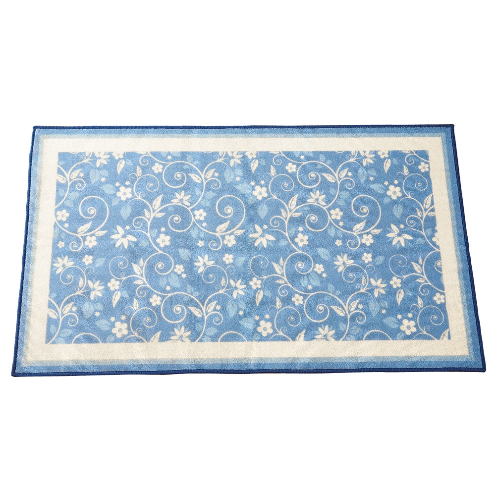 Floral Scroll Skid-Resistant Accent Rug, Blue by Collections Etc