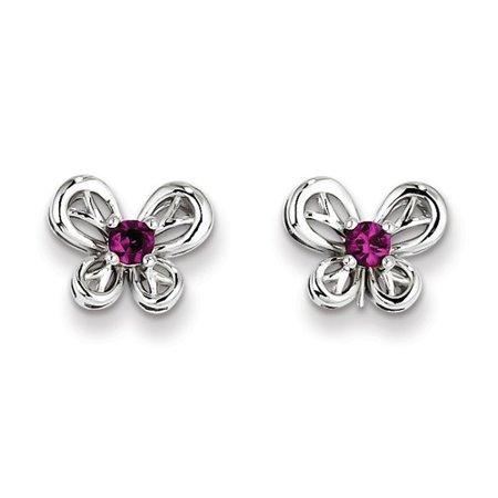 Sterling Silver Created Ruby Earrings. Gem Wt- 0.27ct (9MM Long x 10MM Wide)