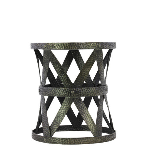 Urban Trends Metal Stool Round Charcoal Gray