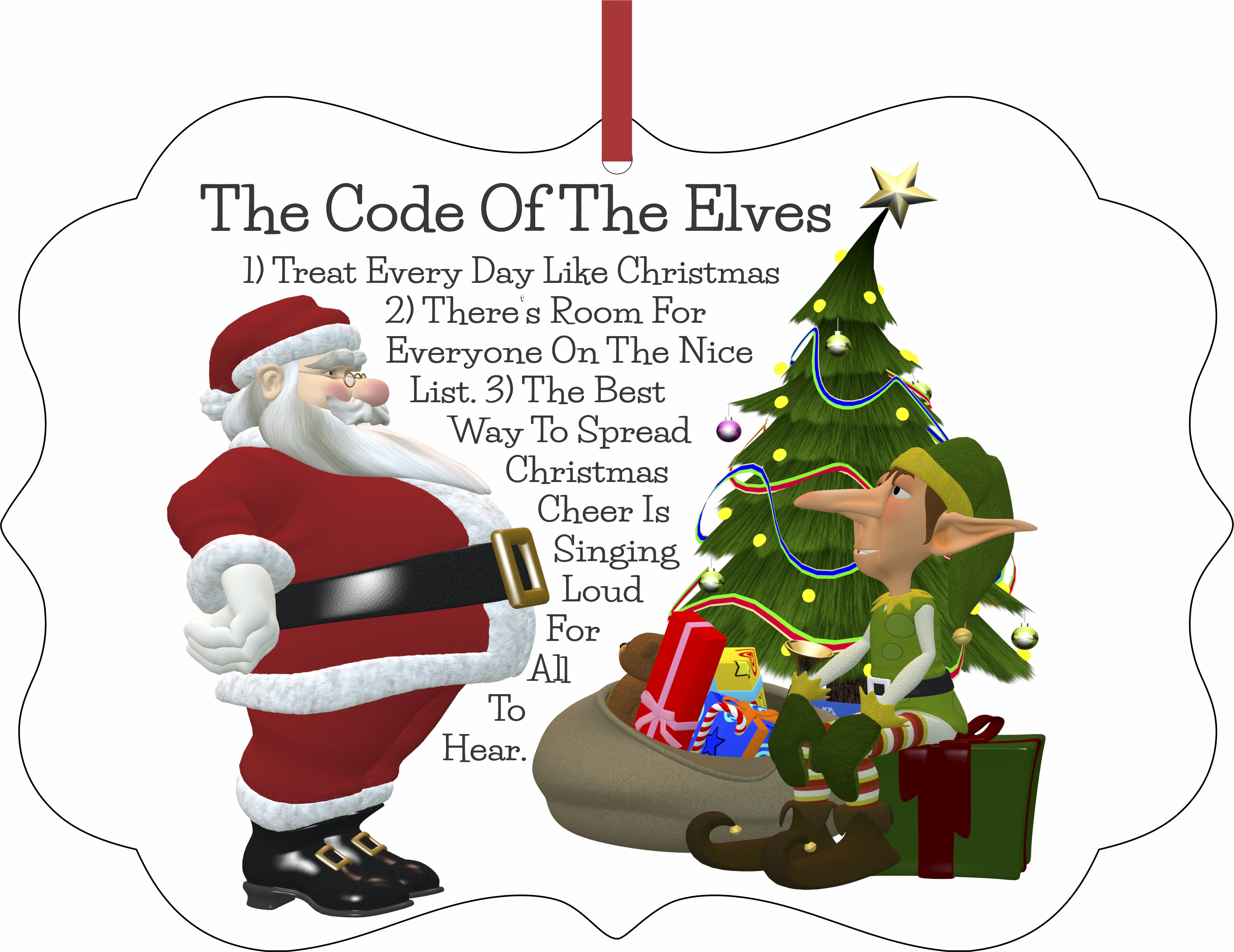 The Code of the Elves Christmas Aluminum SemiGloss Quality Aluminum Benelux Shaped Hanging Christmas Holiday Tree Ornament Made in the U.S.A. - Walmart.com