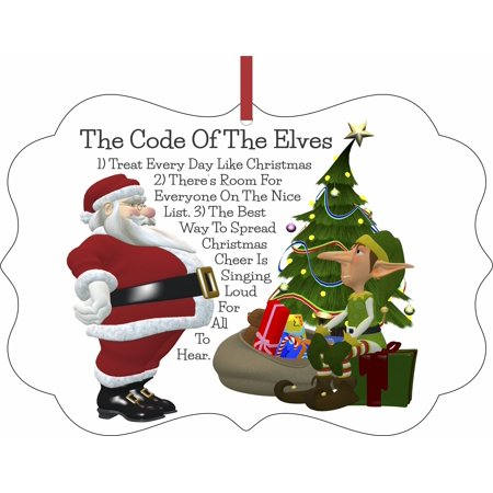 The Code of the Elves Christmas Aluminum SemiGloss Quality Aluminum Benelux Shaped Hanging Christmas Holiday Tree Ornament Made in the U.S.A. - Elf Promotion Code