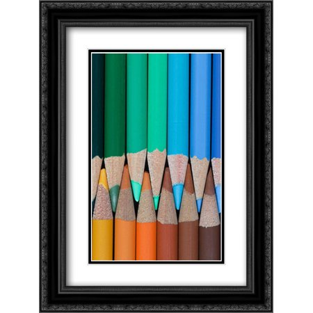 - Colored Pencils III 2x Matted 18x24 Black Ornate Framed Art Print by Mahan, Kathy