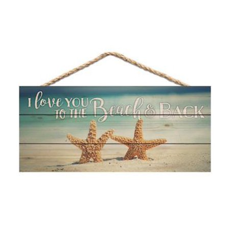 I LOVE YOU TO THE BEACH & BACK Distressed Wood Hanging Sign, 10