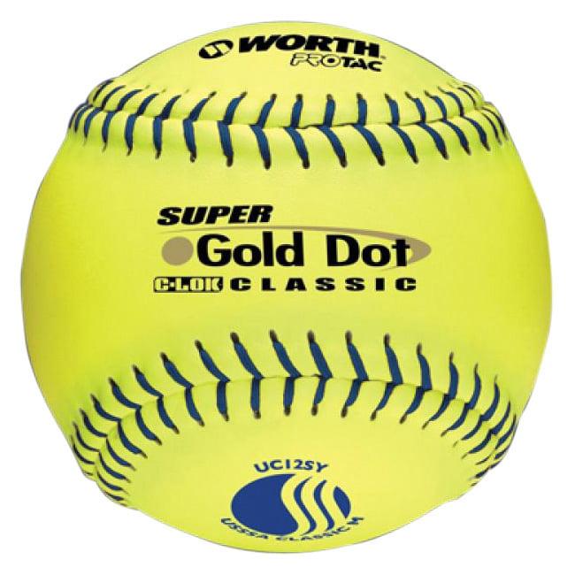 "Worth 12"" USSSA Gold Dot Classic Slowpitch Softballs (Dozen)"