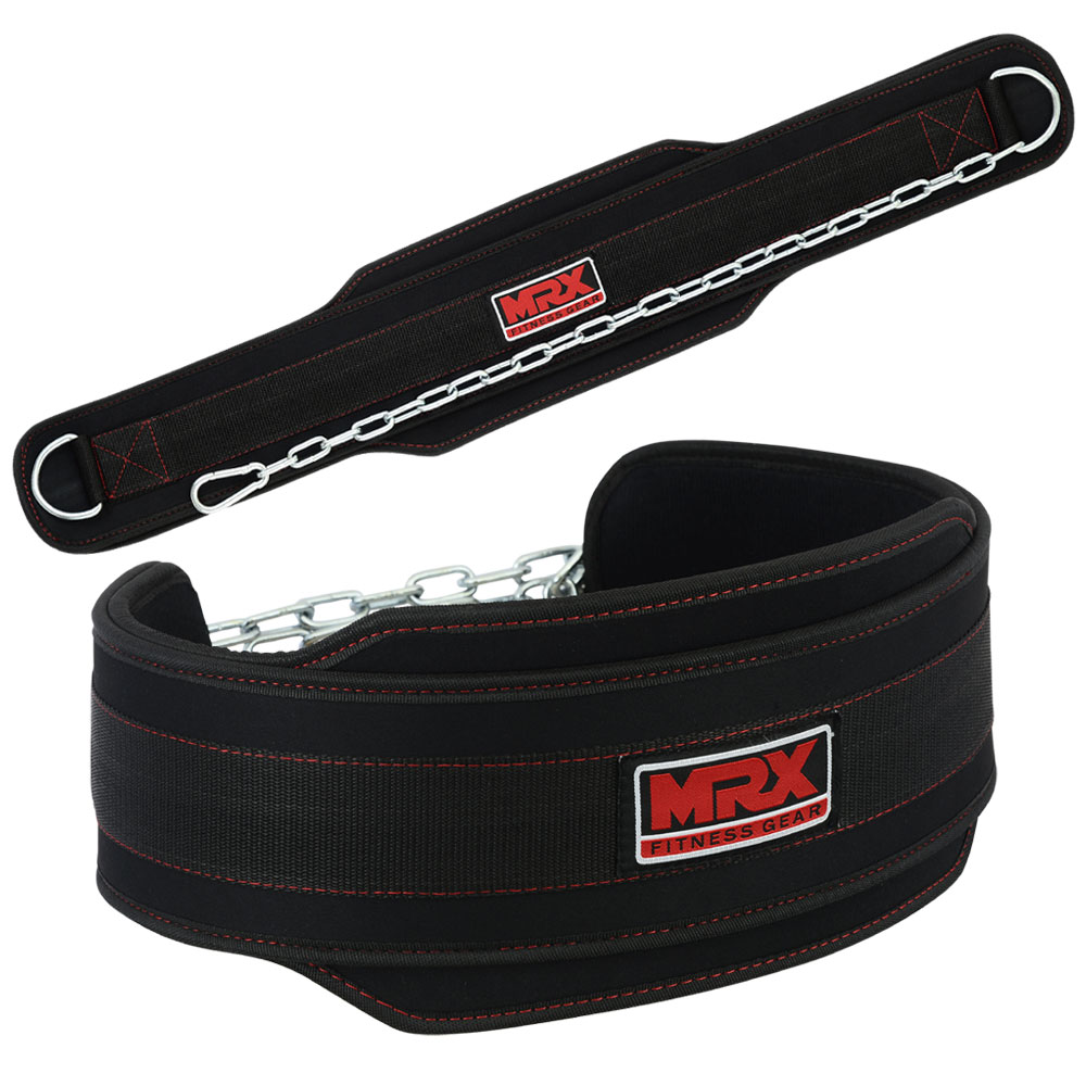 MRX Weightlifting Dip Belt Bodybuilding Training Fitness Gym Workout Lifting With Metal Chain Black