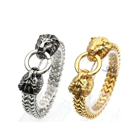 Gold Franco Chain Bracelet (Stainless Steel Lion Heads Franco Cuban Chain Gold Men Biker Bracelet )