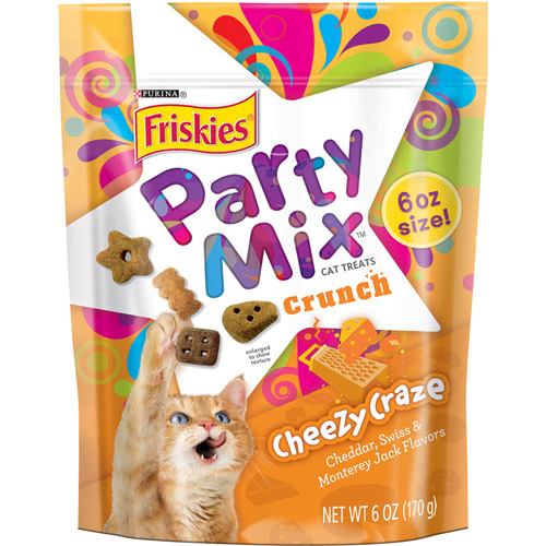 Purina Friskies Party Mix Crunch Cheezy Craze Cat Treats 6 oz. Pouch
