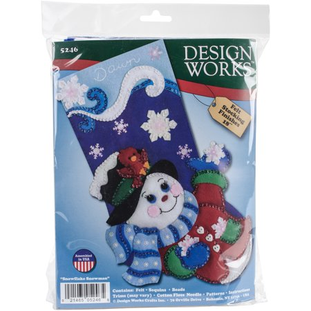Snowflake Snowman Stocking Felt Applique Kit, 18
