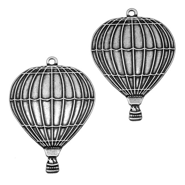 Antiqued Silver Plated Large Air Balloon Pendant Stamping 37x26mm (2)