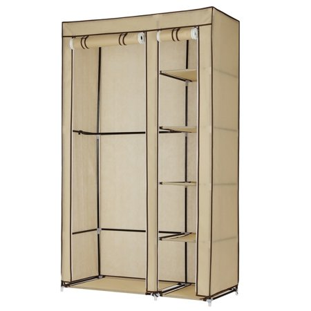 Homegear Double Fabric Portable Wardrobe Closet /Clothes Storage Rack - Double Hanging Wardrobe