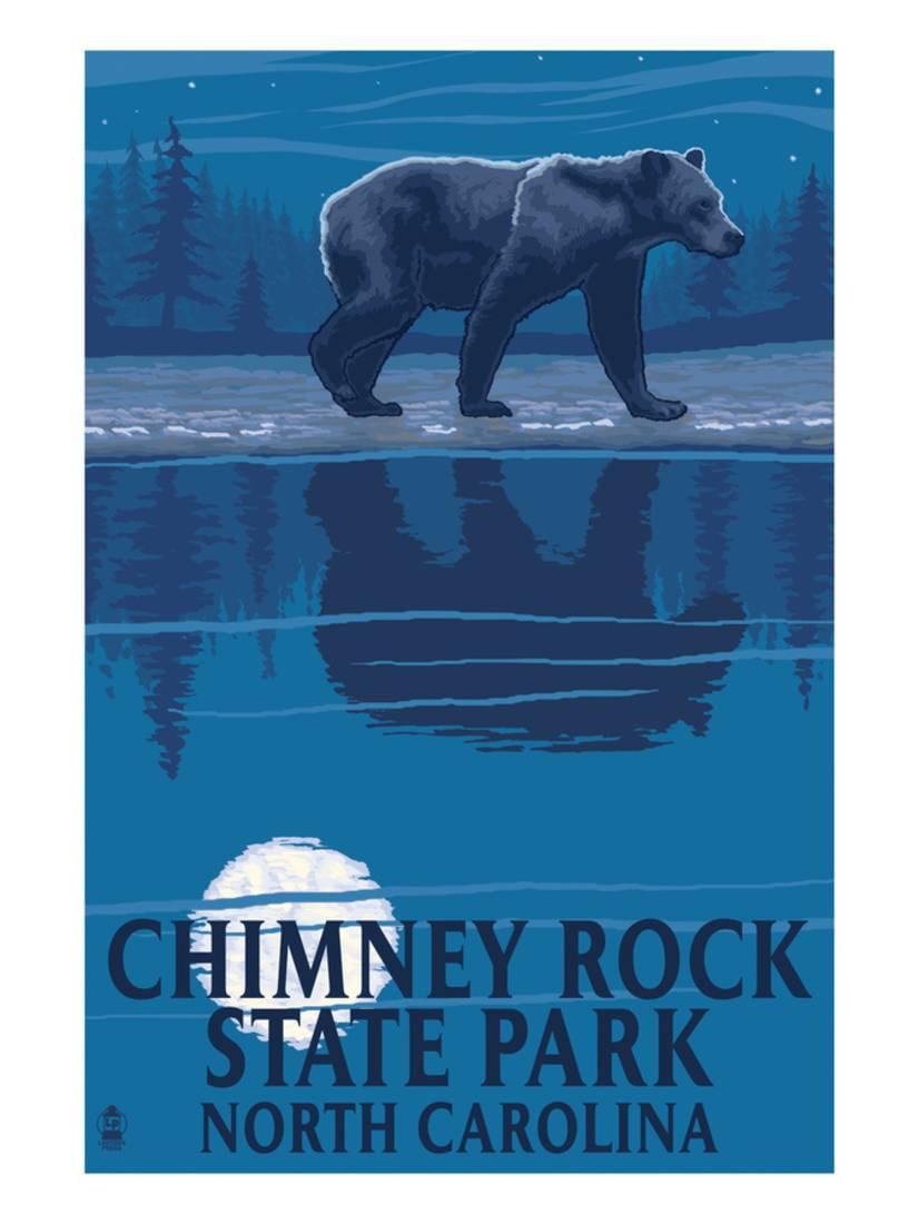 Chimney Rock State Park, NC Bear at Night Art Print By Lantern Press by Art.com