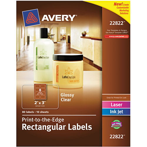 "Avery Rectangle Easy Peel Labels, 2"" x 3"", Clear, 80-Pack"