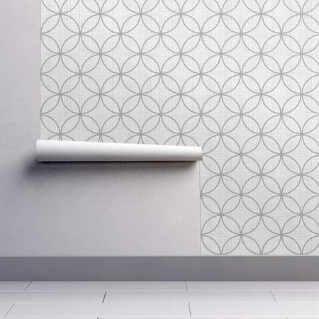 Wallpaper Roll Luxe Texture Circle Geometric Trellis Lock Linen 24in x