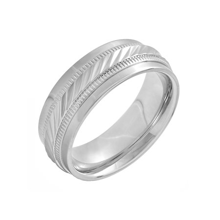 Men's Stainless Steel 8MM Wave Pattern Wedding Band - Mens Ring Design Stainless Steel Band