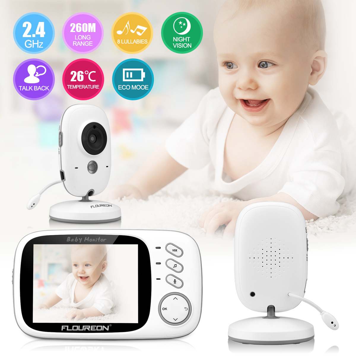 "3.2"" Wireless Video Baby Monitor with LCD Display Digital Camera Infrared Night Vision Two Way Talk Back Temperature Sensor Lullabies Including Corner Shelf"