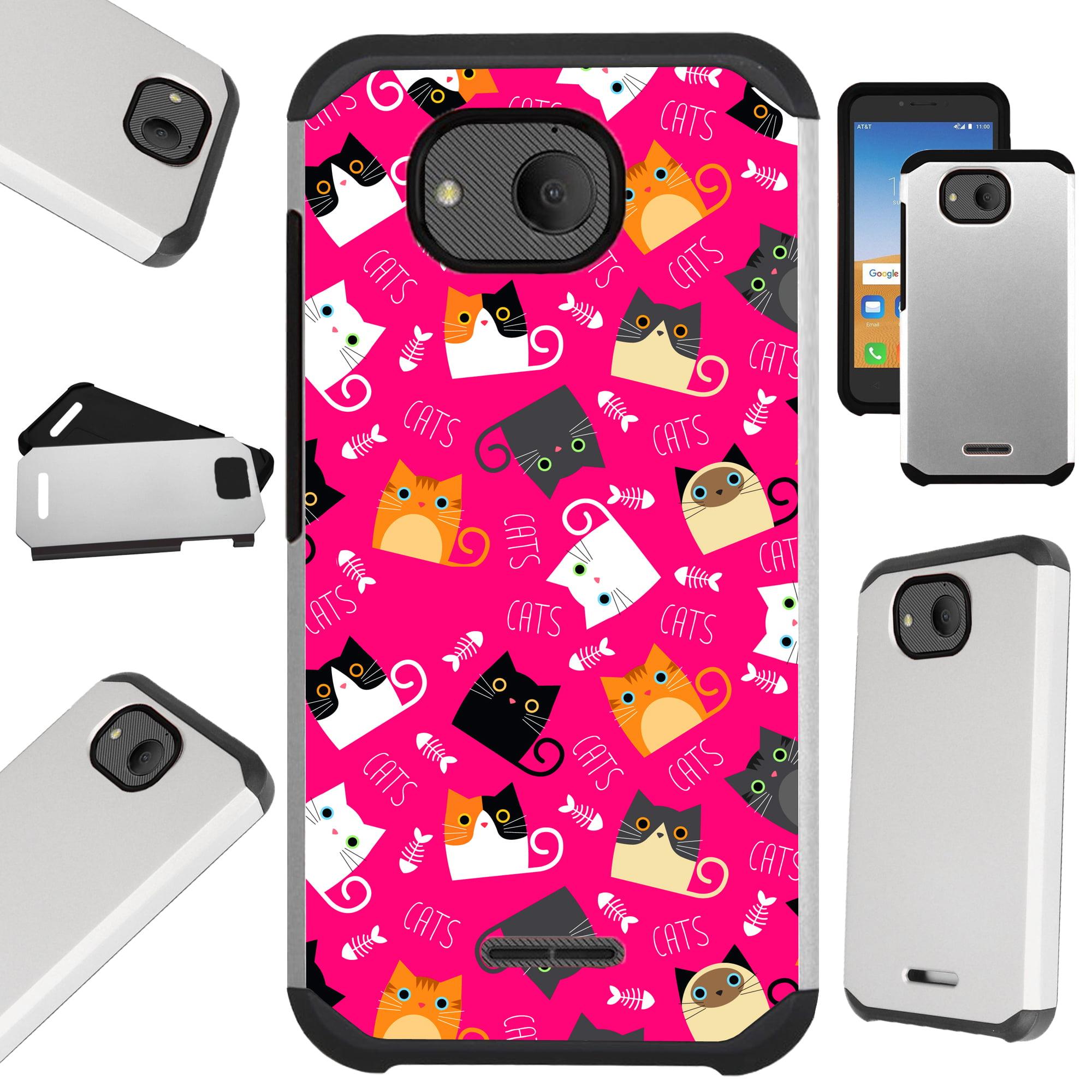 Compatible Alcatel Tetra (2018) Case Hybrid TPU Fusion Phone Cover (Pink Fishbone Cat)