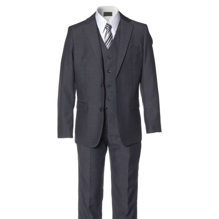 Lined Two Button Suit - Boys Charcoal Grey Slim Fit Suit 2 Button 5 Piece by Fouger
