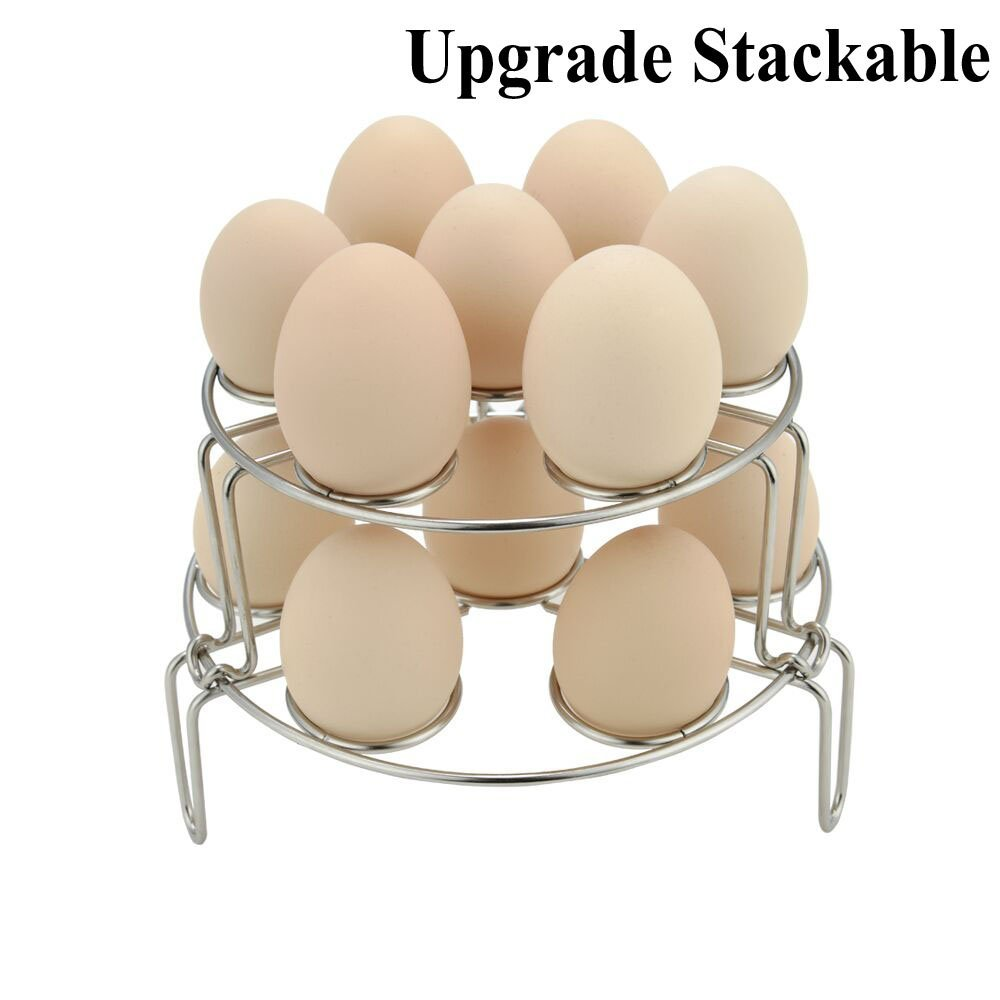 FrontTech Steamer Rack+Dish Clip for Instant Pot, Stackable Egg Vegetable Pressure Cooker Steam Rack, Stainless Steel Food Basket Stand