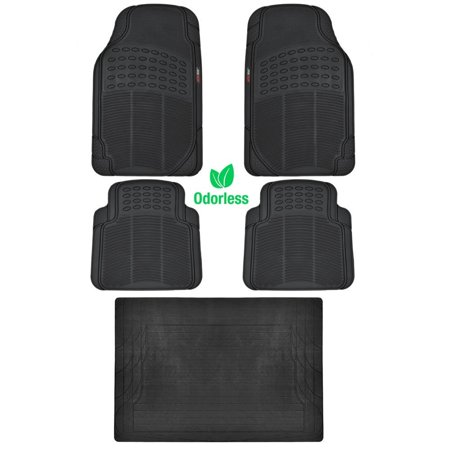 BDK BLACK 5 Piece Set Premium Heavy Duty Odorless Mats for Lexus CT 200h, Odorless Material 100% Rubber Polymer raised surface for tractions By Motor