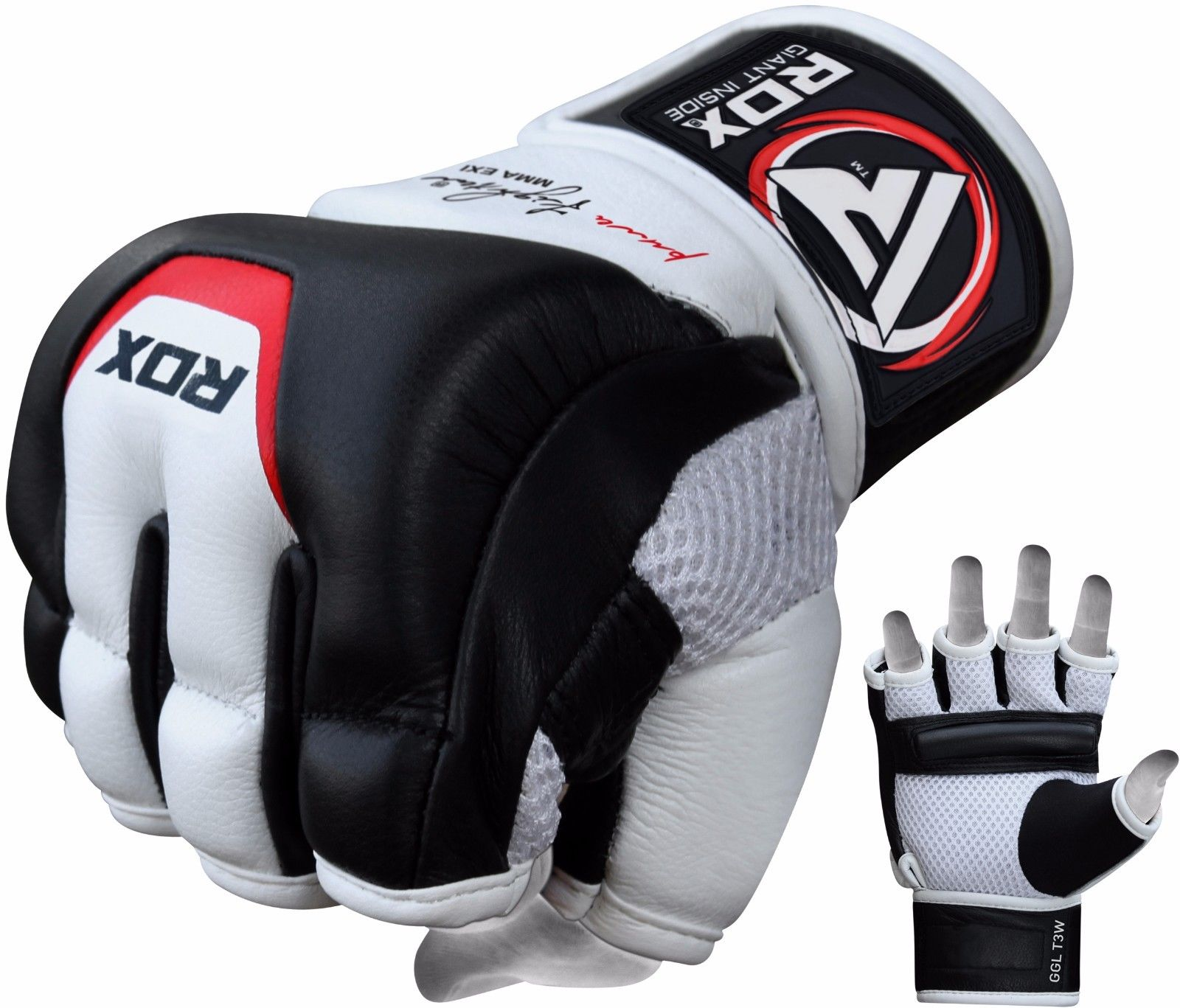 RDX MMA Gloves Punching Bag Mitts Cowhide Leather Grappling Training UFC by De Caprio