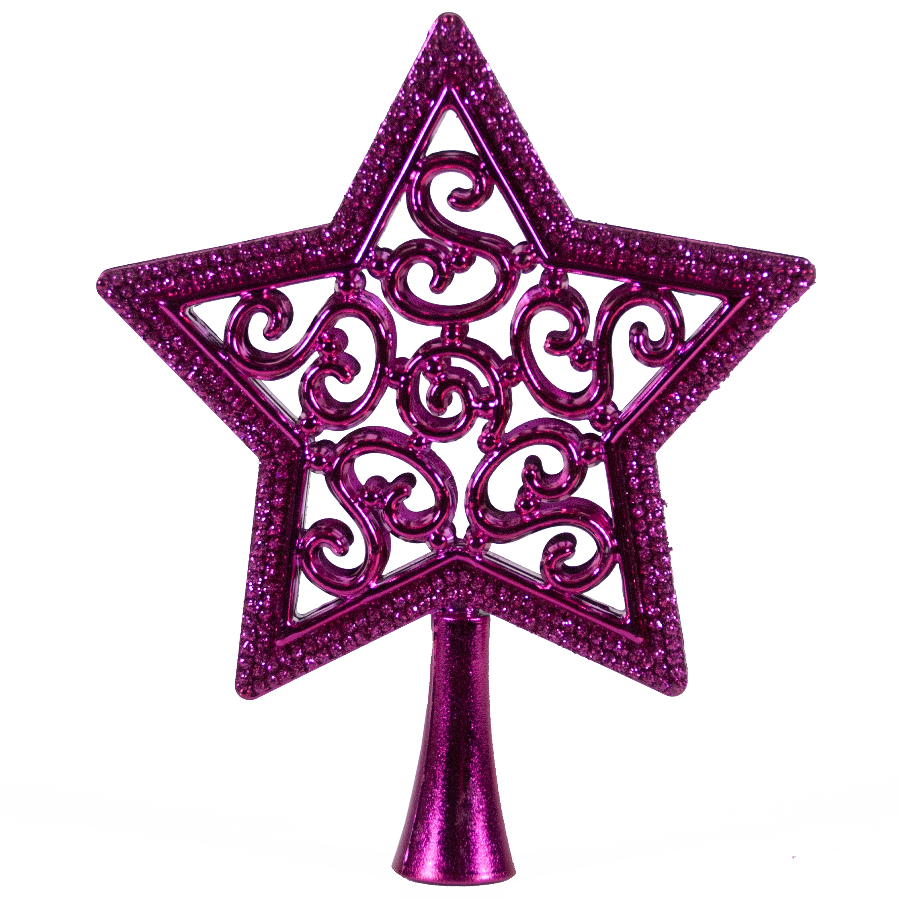 HOLIDAY TIME PINK STAR MINI TREE TOPPER, 5 INCH