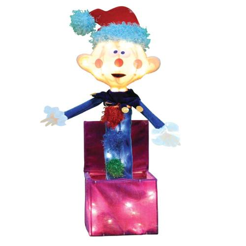 """18"""" Rudolph 3D Pre-Lit Soft Tinsel Outdoor Yard Art, Misfit Charlie In The Box, Knockdown"""