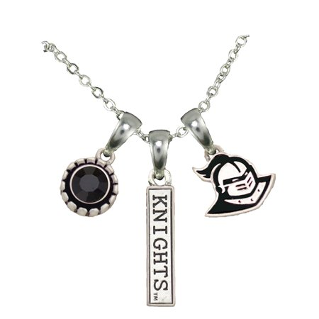 Florida State Jewelry (Central Florida Knights 3 Charm Silver Chain Black Charm Necklace Jewelry)