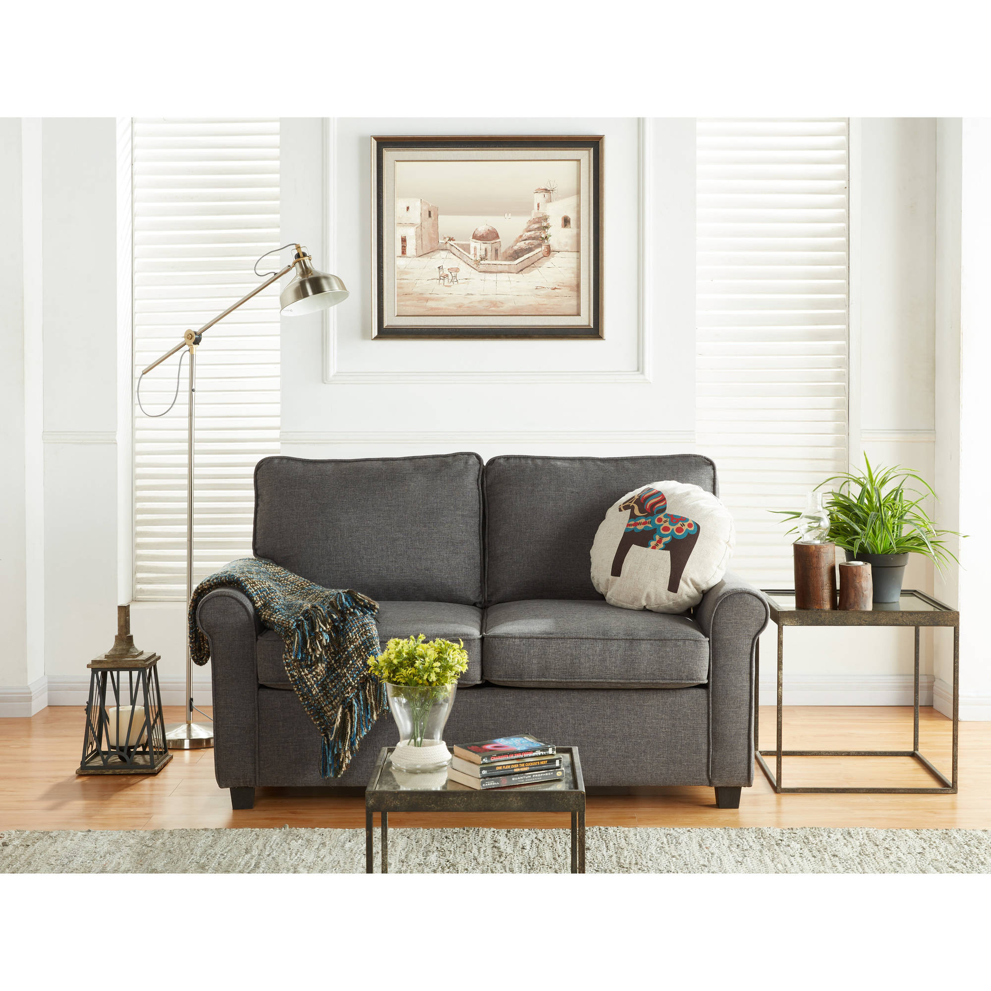 Mainstays Loveseat Sleeper With Memory Foam Mattress, Grey   Walmart.com