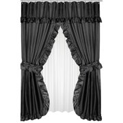 Royal Bath Lauren Double Swag Dobby Fabric Shower Curtain, 100% Polyester, Size 70X72, Color Black