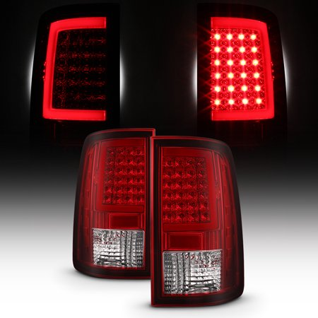 Clear Led Tail Lamps - Fit 2013-2018 Dodge RAM Pickup Red Clear Full LED DRL Tube Tail Lights Lamp
