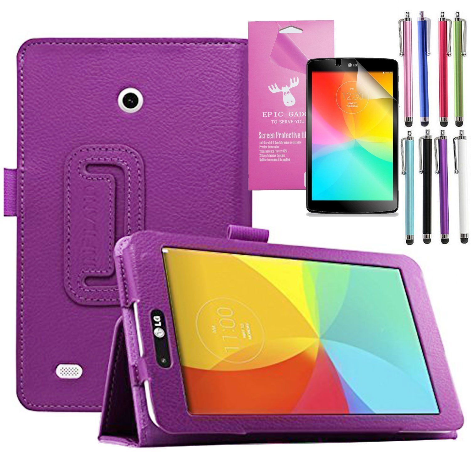 LG G Pad 7.0 Case, EpicGadget(TM) Auto Sleep/Wake Premium Folding Folio Smart PU Leather Case For G Pad 7.0 (V400/V410/VK410/UK410) with Built in Stand + 1 Screen Protector + 1 Stylus (Purple)