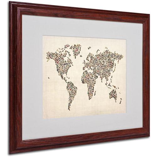 "Trademark Fine Art ""Ladies Shoes World Map"" Matted Framed Art by Michael Tompsett"