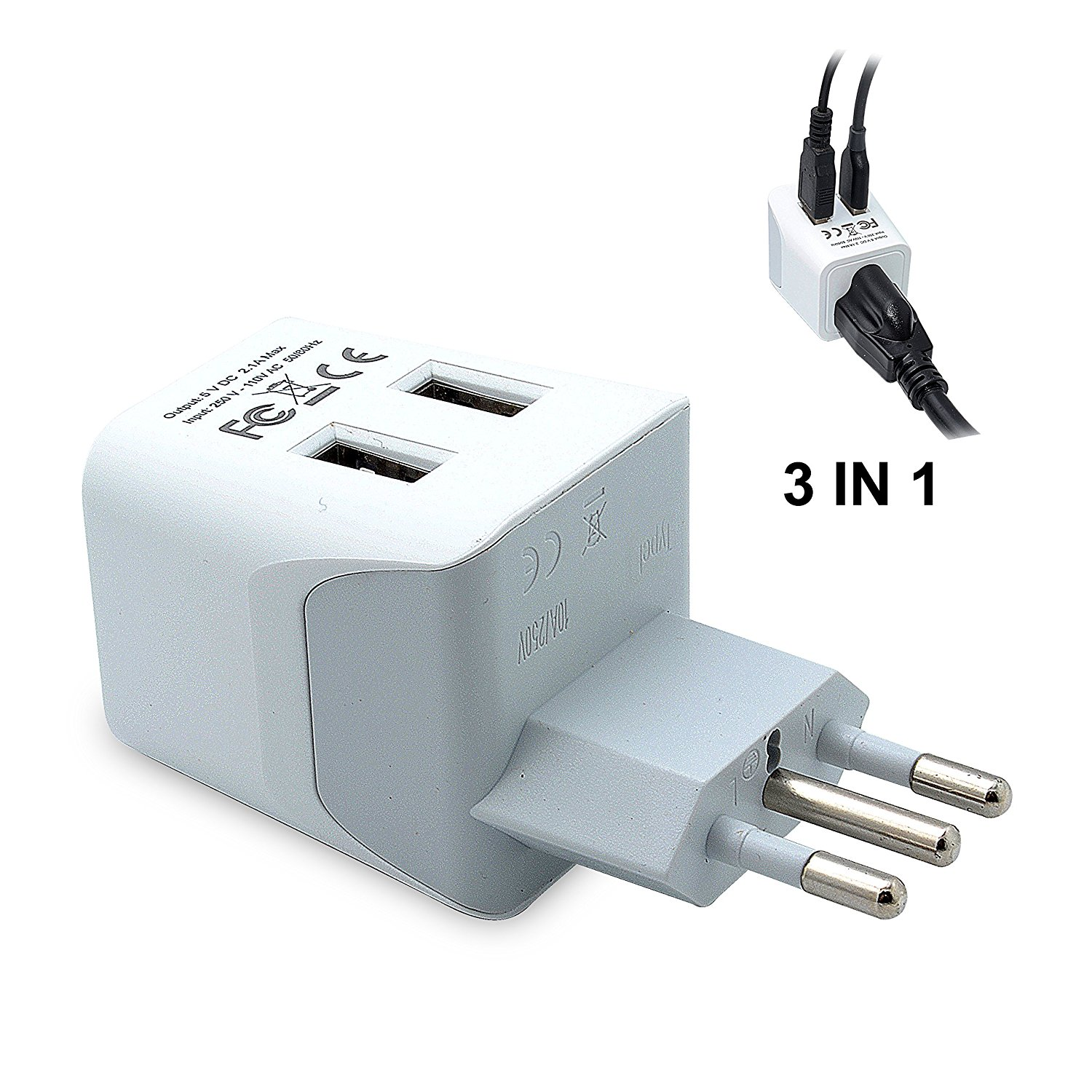 Ceptics USA to Italy Travel Adapter Plug With Dual USB Type L Ultra Compact by