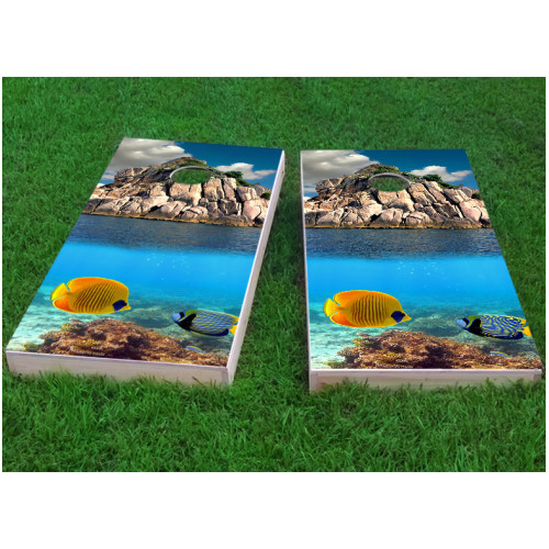 Custom Cornhole Boards Coral Reef Cornhole Game (Set of 2) by Custom Cornhole Boards