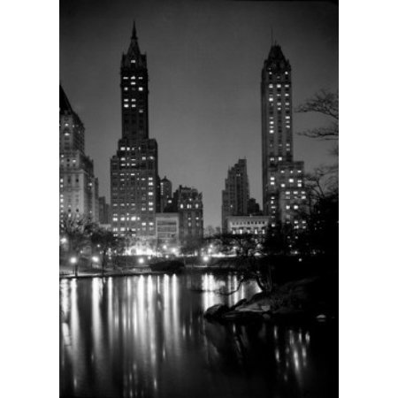 - USA New York City Manhattan Night scene at Central Park with Fifth Avenue skyline Poster Print