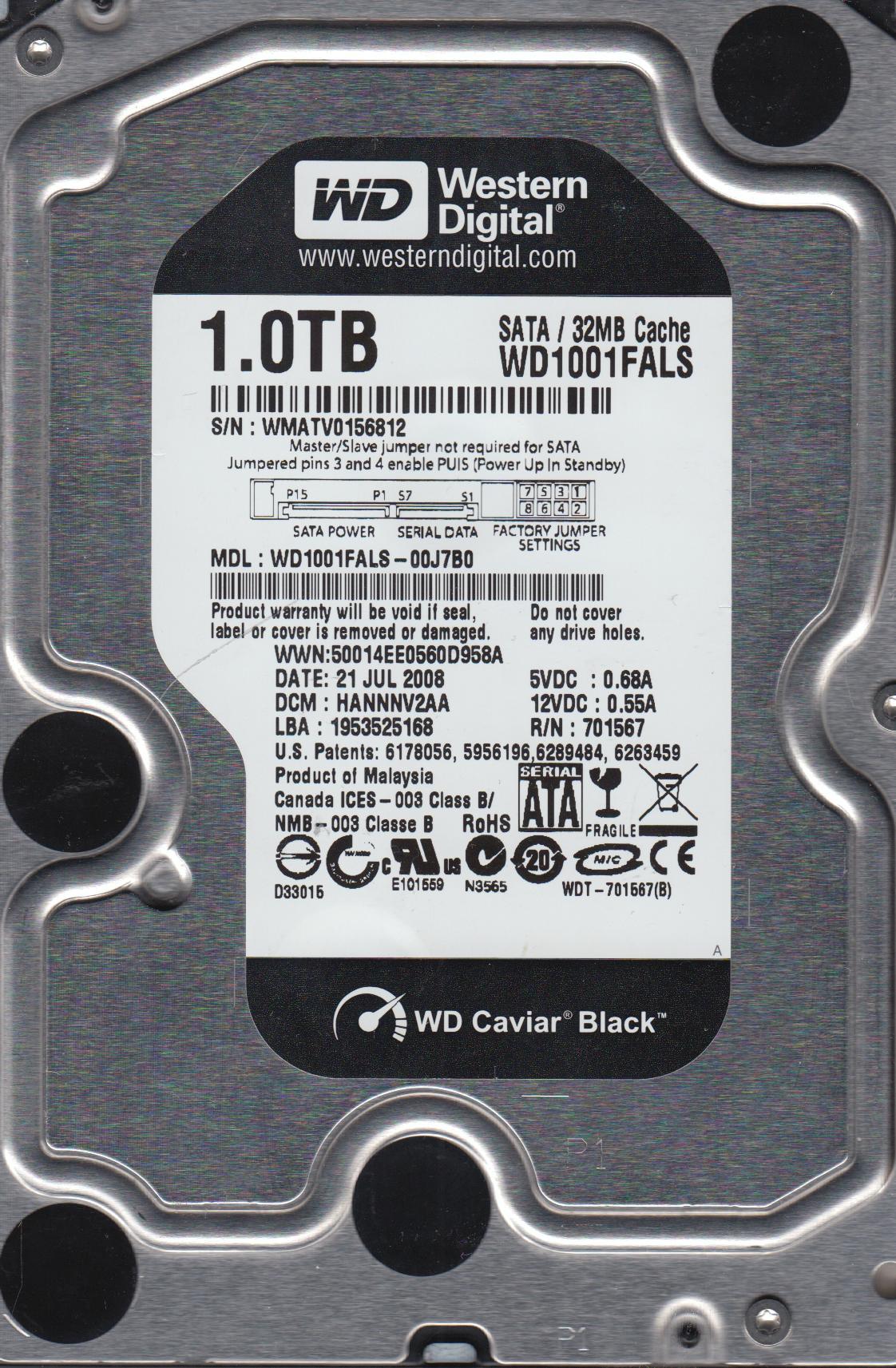 WD SATA 3.5 PCB 2061-701567-400 08P WD1001FALS-00J7B0