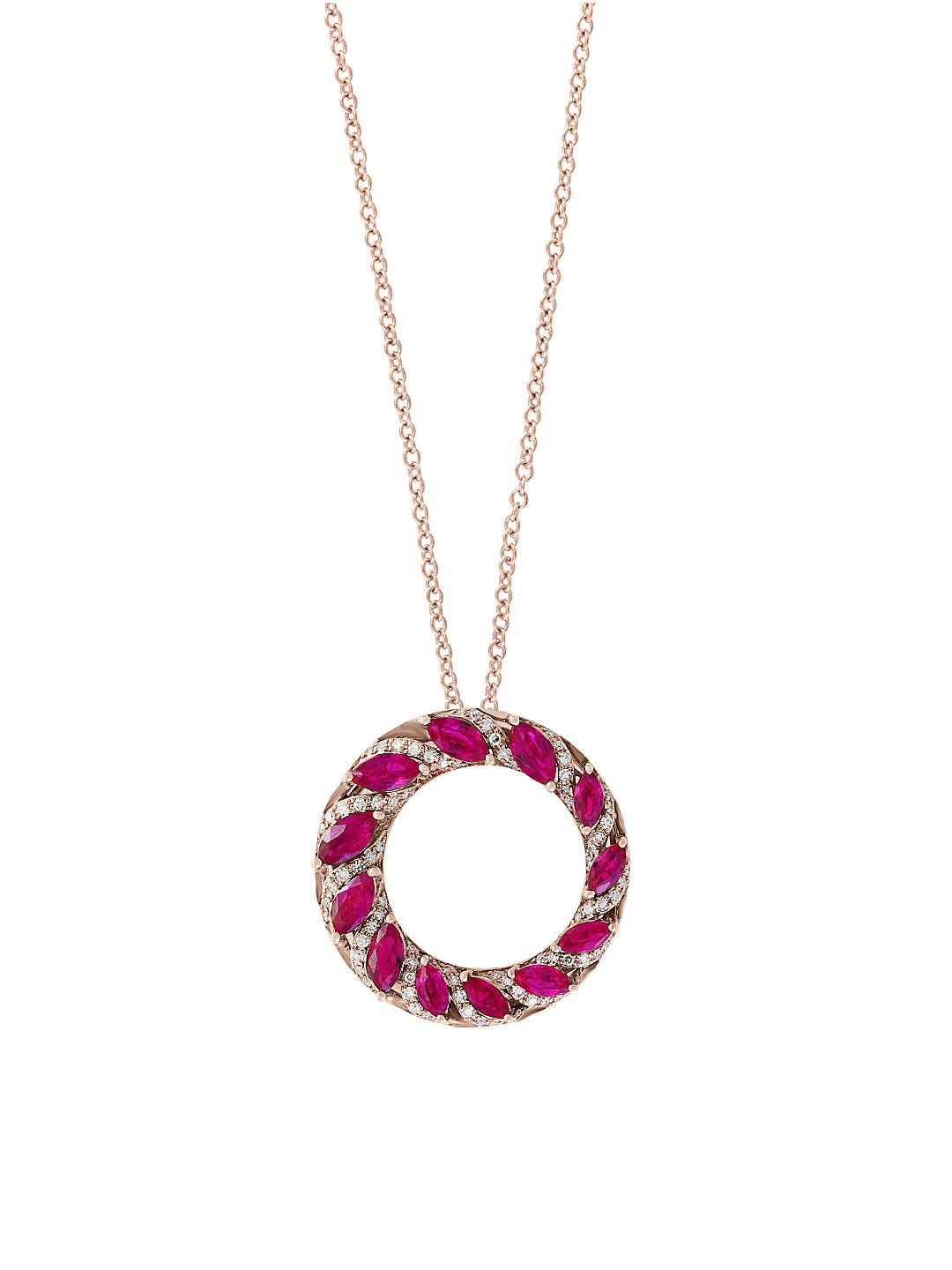 Amoré Diamond, Natural Ruby and 14K Rose Gold Pendant Necklace