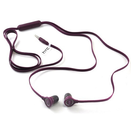 Purple Flat Wired Earphones OEM Earbuds w Mic Dual Headphones Headset Compatible With ZTE Grand X Max 2, ZMax Pro Z981, Duo LTE, X4 X3, XL, ZPad 8