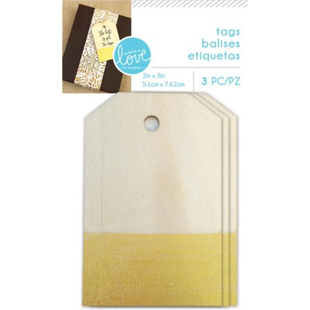 With Love By Momenta Dipped Wooden Tags 3/pkg-natural W/gold, 2