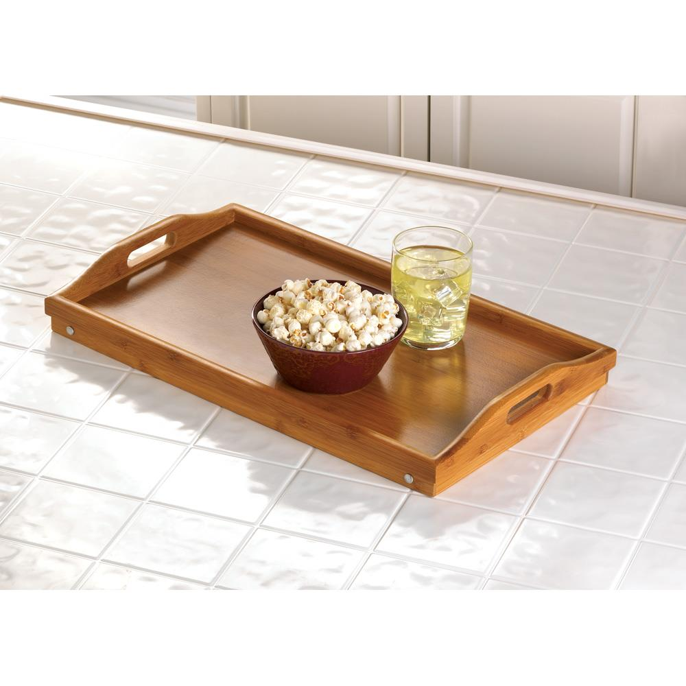 Tray For Eating In Bed Serving With Legs And Handles Made Of Bamboo