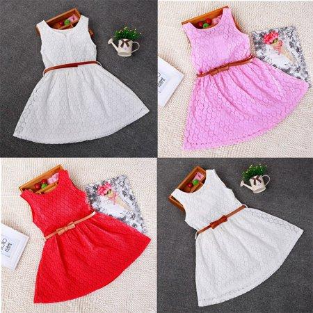 Baby Girls Princess Lace Floral Summer Dress Sleeveless Dress Kids Dress - Girls Sun Dress