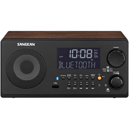 Sangean WR-22WL FM-RBDS/AM/USB/Bluetooth Digital Receiver, Walnut