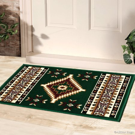 Allstar Green Doormat Accent Rug Woven High Quality Doormat Accent Rug. Traditional. Persian. Flower. Western. Design Area Rug (2' x 2' 11